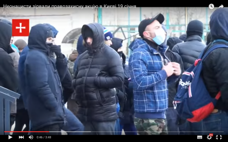 19 January: Azov activists disrupt anti-fascist commemoration in Kyiv. Screenshot taken from YouTube.
