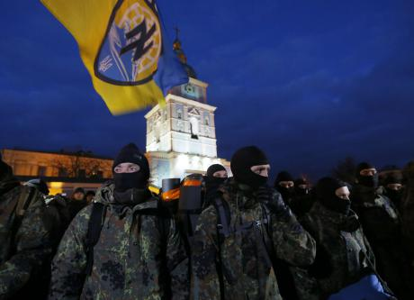 January 2015: new members of Azov take an oath of allegiance in Kyiv before setting off for the front. (c) Sergei Chuzavkov / AP / Press Association Images. All rights reserved.