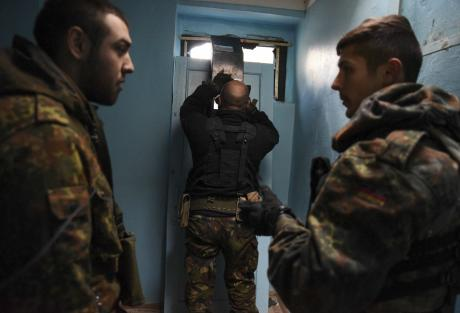 March 2015: Azov fighters at Shyrokino, Mariupol. (c) Mstyslav Chernov / AP / Press Association Images. All rights reserved.